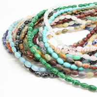 """Pick style 1Strand 16""""(43pcs)Natural stone Oval Loose Beads 6mm*9mm (w02964-w02980)Free Shipping"""