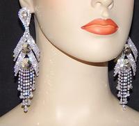"""2015 Luxury New Clip Earing Wedding Bridal Rhinestone Crystal 5"""" Long Silver Gold Dangle Chandelier Drop Earrings Jewelry DE105"""