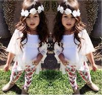 2015 NEW arrive 100% cotton children girls 3pcs set fashion girls summer suit children clothing set  girls summer clothing set