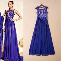 Free shipping 2015 fashion o-neck silk sleeveless dinner party formal dress evening dress women ladies dress wholesale va1829