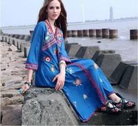 2015 Cotton Linen Embrodiery Maxi long Dress Women Elgent High Quality hinese Style Long Dress Beach  Free ShippingLarge Size C