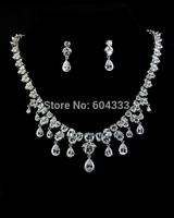 Teardrop dangle cubic zirconia wedding bridal jewelry set platinum plated zircon jewelry sets for women