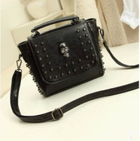 Hot sale women messenger bag multifunctional black bag PU leather vintage style  rivet bag skull bag ladies tote YK80-659