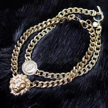 2015 Fashion Women Gold Flat Chain Statement Choker Chunky Lion Head Pendant Necklace Club Party Gift Jason0415