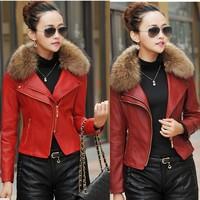 Leather Clothing Female , Winter Slim Plus Cotton Really Raccoon Fur Collar leather jacket , High Quality Women Biker jacket