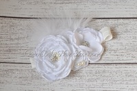 16pcs/lot Satin Poppy Flower Matching Sparking Rhinestone Pearl Headband Layered Flower Headband Couture Headband
