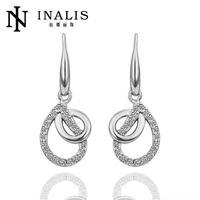 E414 Graceful Bijoux Tassel Dangle Golden Earrings Big Drop Earrings Austrian Crystal Statement Christmas Gift For Women
