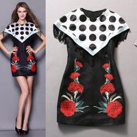 free shipping women's 2015 new runway spring summer dot flower print Jacquard tassel batwing sleeve dresses
