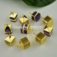 Fashion! 8pcs Gold Plated Edge Square Shape Druzy Quartz Stone Charms Pendant For Necklace