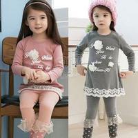 2013 autumn letter flower girls clothing child long-sleeve T-shirt legging set Free Shipping