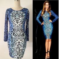 Plus Size Women clothing 2015 Women's Dresses Slim Long Sleeved Leopard Printed Dress Women Winter Dress Vestidos Femininos