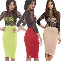 Dropshipping!2015 Europe and America women fashion sexy dress  slim party dress Lace stitching vestido de festa Pencil dress