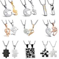 OPK 10pcs/lot Fashion Lovers' Necklaces Trendy Full Steel + Crystal Heart Puzzle Design Pendants Link Chain Women/Men Jewelry