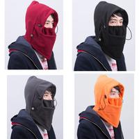 Black Color Warm Fleece Mask Solid Color Winter Balaclava Protected Ear Beanies Ski Skull Snowboard Cap Ski Mask