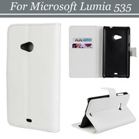 30pcs/lot Free Shipping Magnetic Flip Folio Style 2 Credit Card Slots Leather Case with Stand for Microsoft Lumia 535