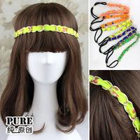 unique sale metal chain elastic headband leopard print metal twisted hair bands mix color 10pcs/lot