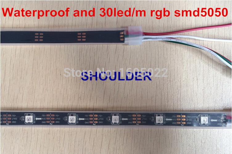 Chasing led strip Dream Magic led strip WS2812 led strip light smd 5050 30led/M 5M/roll DC12V waterproof(China (Mainland))