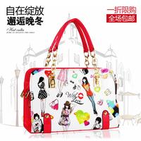 2015 new hot pu leather women bag printing casual fashion handbags woman street shoulder bag chain bag