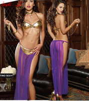 AL153 New Gold Bra+ long Purple skirt sexy Lingerie Sleepwear Sex Products Promotion Costumes