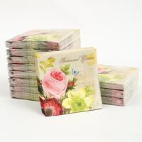 [12 packs]100% virgin wood pulp food-grade printed paper napkins wedding paper napkin colorful tissue paper serviette-4NC1967B
