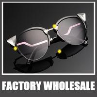 New European Style Cat Eye Sunglasses, Colored Rhinestones Mercury Reflective Sunglasses Punk Rock Glasses Women