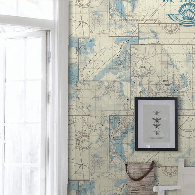 Nautical World Map Wallpaper Pvc Washable Nautical Map