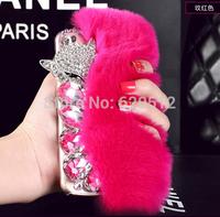 Rabbit hair fox head rhinestone mobile phone cover for iphone5G/5S