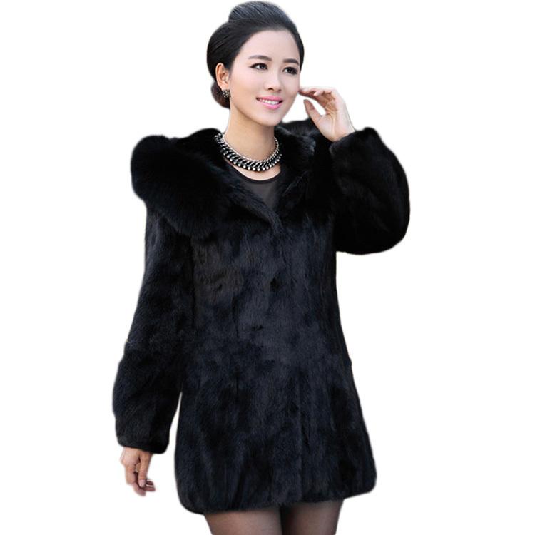 2015 New Winter Warm Women'S Rabbit Fur Coat Fox Fur Collar Medium Long Hooded Fur Black Size XL/2XL/3XL/4XL WF-91587(China (Mainland))