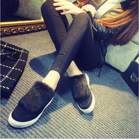 ming-053 Winter Europe  America warm lazy shoes In heavy-bottomed shoes with casual zipper Korean women flat shoes Free Shipping