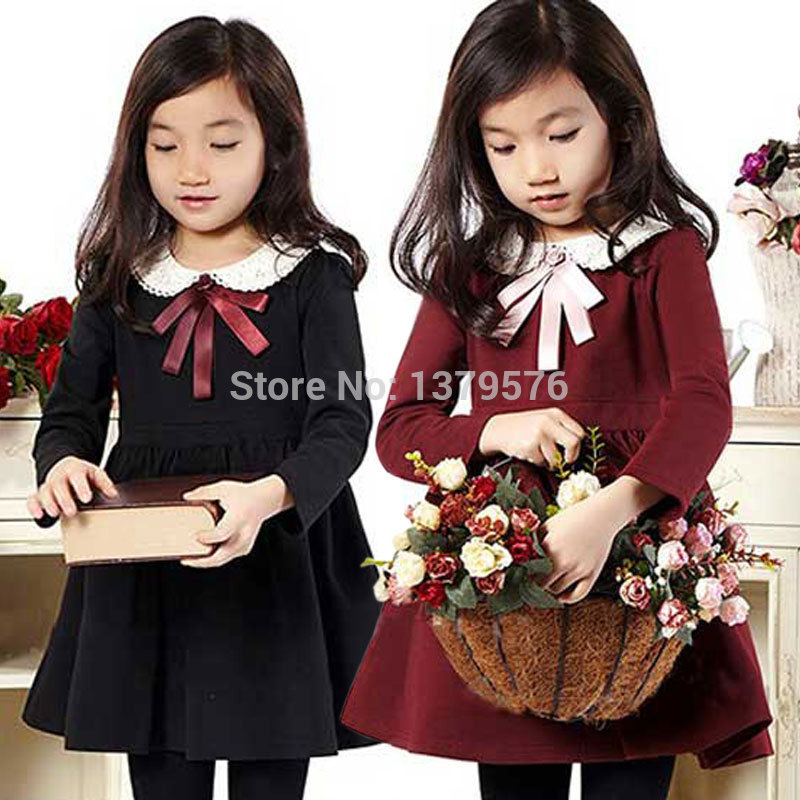 product Hot 2015 New Design spring autumn kids dress Fashion stitching lace collar pleated girls Clothes Free Shipping