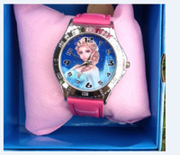free shipping 1pcs frozen box watch kids fashion quartz cartoon with box Cute Fly Girl