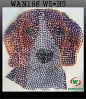 Free ship!30pc!Dog design hotfix rhinestones transfer rhinestone motif, DIY motifs rhinestones WAN186