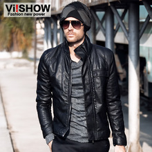 Brand New Male winter casual outerwear men's PU slim motorcycle clothing leather jacket men's fit  clothing Black Suede (China (Mainland))