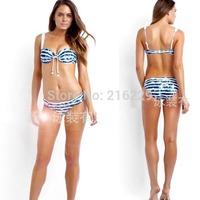 2015 NTW Women Sexy Push Up Suit Navy Retro Blue Stripe Padded Bikini Set Swimsuit Swimwear  S M L