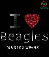 Free ship!30pc!I love Beagles design hotfix rhinestones bling letter rhinestone transfer DIY motifs rhinestones WAN192