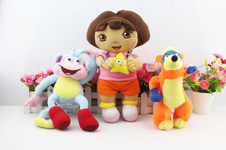 EMS 60pcs 20sets Dora the explorer Boots Swiper Plush Toys Gift For Kids 30cm Dora Girl 20cm Money and Fox Free shipping(China (Mainland))