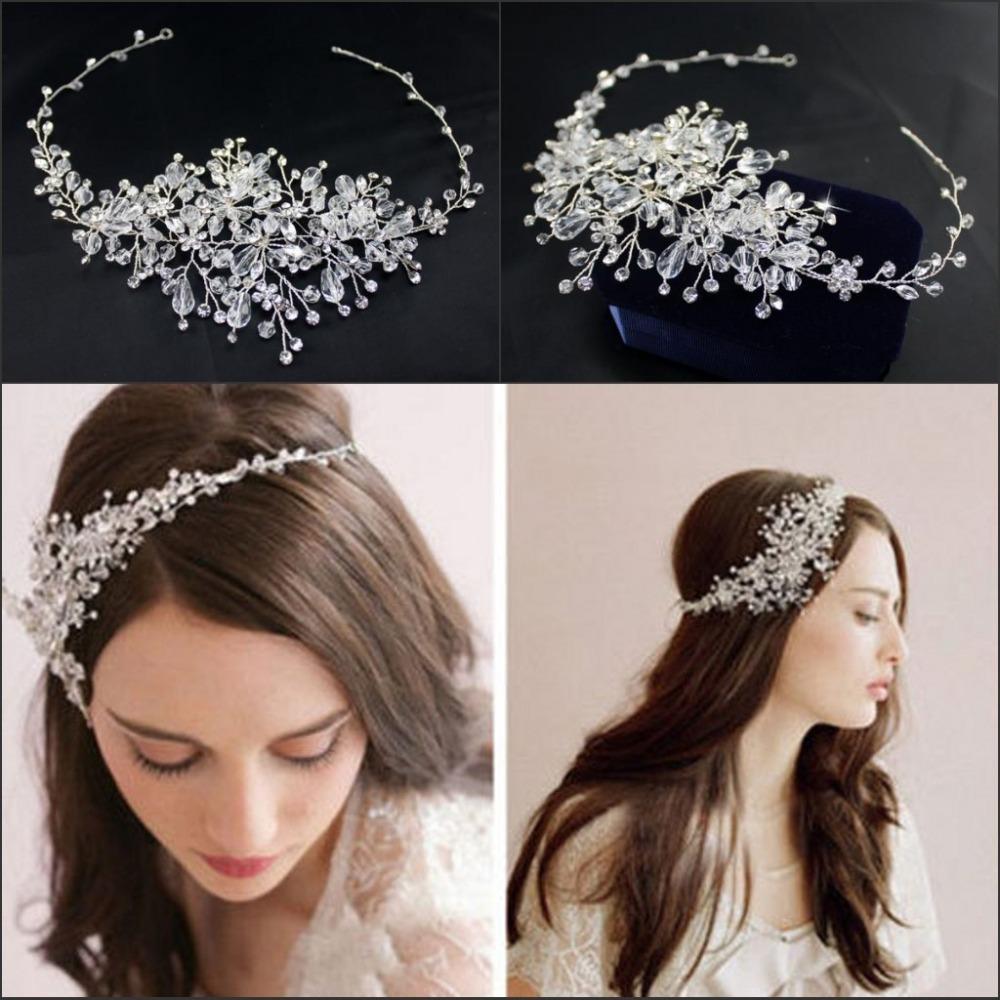 2015 New Fashion Hair Jewelry Crystal White Headpieces Tiara Corona Novia Hair Pins Wedding Headdress Wedding Accessories(China (Mainland))