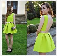 2015 New Arrivel women backless dress femininas Fluorescent green color Evening Party mini dress Dress vestidos de festa