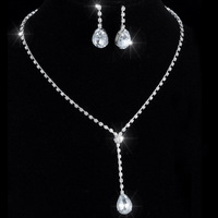 fashion jewelry Crystal Tennis pendant Necklace & Earrings Factory Price Wedding Bridal Bridesmaid Jewelry Sets