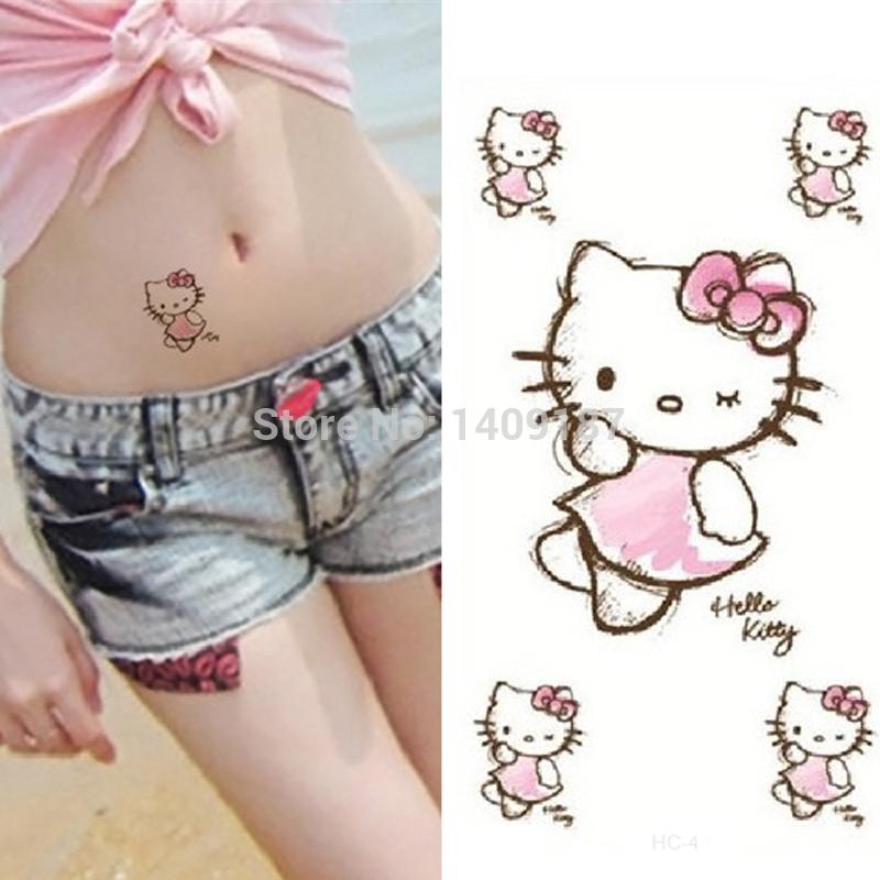 Min Order 5 Cute Cartoon Hello Kitty Cat Belly Waterproof Tattoos Stickers Modern Beauty Arts Water