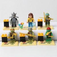 2015 new TMNT toys Teenage Mutant Ninja Turtles building blocks sets bricks toys action figure for children's gifts 6pcs/sets