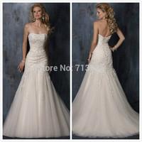 2015 High Quality BRAND Bride Wedding Dress Fish Tail Slim Train Strapless Lace Up Ivory White Bride Wedding Formal Dress