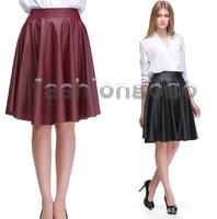 autumn winter waisted PU leather skirt thin pleated skirt