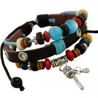 BA178 Wholesale Handmade Genuine Leather Blue Beads Adjustable Bracelet  Jewelry Bijouterie Unisex For Girls Woman Gift