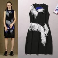 free shipping women's wholesale new runway spring summer 2015 Twisted tassel sleeveless dresses