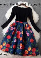 Free shipping women Fashion vintage 2015 colorant match print slim medium-long t2733 party dress casual dress wholesale va1825