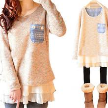 Women Winter Ruffles Tops Scoop Neck Plus Size Blouse Sweater Mini Dress(China (Mainland))
