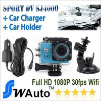 In Stock Original WiFi SJ4000 Action Camera Diving 30M Waterproof Sport Camera  DV 1080P Full HD add Car DVR caharger & mount