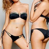2015 Newest Super Sex Bandage Bikini Set  Women's Swimwear More Staps Double Ring Bikini S M L