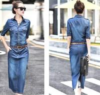 Autumn female vintage jacquard print denim full dress half sleeve one-piece dress slim women's